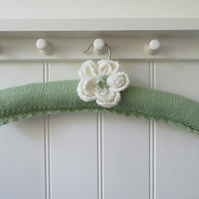 Hand Knitted padded coat hanger with peony flower