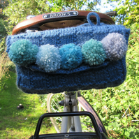 Knitted vintage style ladies saddle tool bag - blue with pompoms
