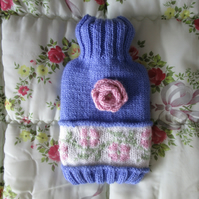 Hand knitted fairisle and rose hot water bottle cover