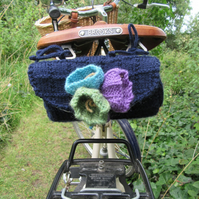 Hand knitted ladies saddle tool bag navy blue with crocus flowers