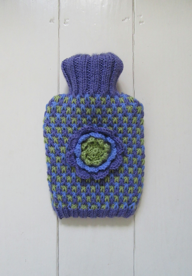 Chocolate wrapper purple tweed hot water bottle cover