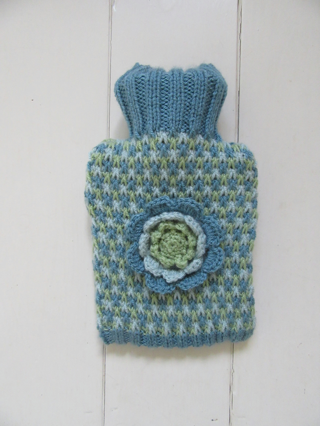 Nordic blue tweed hot water bottle cover