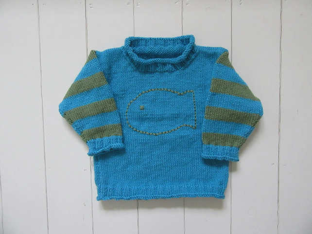 Hand knitted childrens turquoise blue big fish jumper 2yrs