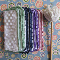 Hand knitted white 100% cotton eco dishcloths or face cloths