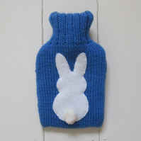 Blue bunny hot water bottle cover
