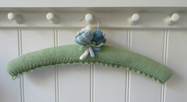 Knitted ladies padded coat hanger - spring green with crocus flowers