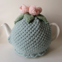 Hand knitted duck egg blue tea pot cosie with peony