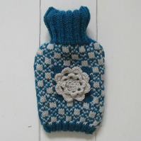 Scandi ski knitted hot water bottle cover - blue