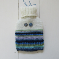 Knitted alien monster hot water bottle cover