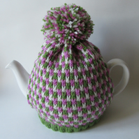 Hand knitted tweed tea pot cosie - Saxifrage