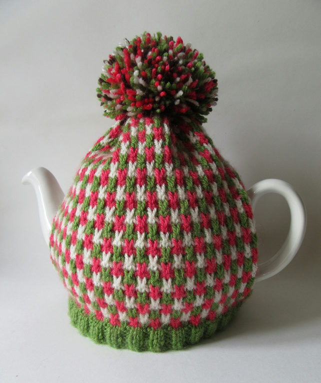 Knitted Christmas tweed tea pot cosie