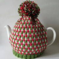 Knitted tweed tea pot cosie - watermelon