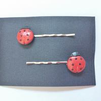 Ladybird Hair Grips, Red, Black,14mm Bobby Pins, Grips