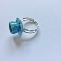 Tea Cup Ring, 'Alice in Wonderland' Style, Blue Ceramic, Adjustable.