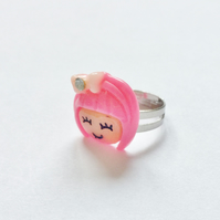 Cute Kitsch Girl Ring, Pink, Adjustable.