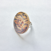 Large Oversized Animal Print Button Ring, Brown,  Adjustable Large Approx 1.2""