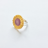 Cute Little Sunflower Flower Ring, Brown, Yellow, Adjustable Large Approx 1""