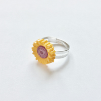 Cute Little Sunflower Flower Ring, Brown, Yellow, Adjustable Small Approx 12mm