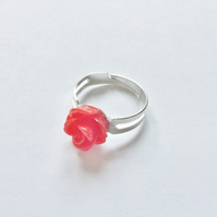 Beautiful Red Resin Rose Ring, Adjustable, Approx 10mm.