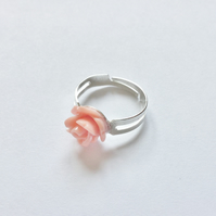 Beautiful Peach Resin Rose Ring, Adjustable, Approx 10mm.