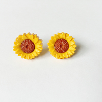 Sunflower Earrings, Yellow, Brown, Approx 14mm