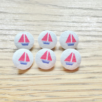 6 x Fabric Boat Pattern Buttons, 14mm. Red, White, Nautical, Plastic Shank.