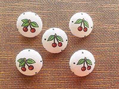 Cherry Buttons, Fabric Buttons, Cherries, Red, White, 28mm