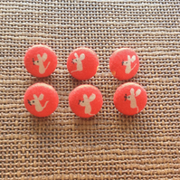 Red, Orange, Mice, Mouse Buttons, 14mm, 6pcs, Plastic Shank