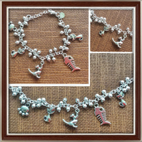 Cat Lovers, Cat Charm Bracelet, Silver Tone, Gifts for Cat Lovers