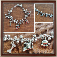 Dog Lovers, Dog Charm Bracelet, Silver Tone, Gifts for Dog Lovers