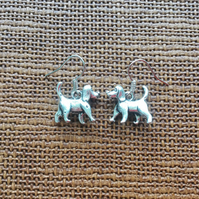 Silver Plated Standing Dog Earrings, Dog Lovers, Dogs, Gifts for Dog Lovers