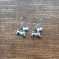 Silver Plated Dog with Collar Earrings, Dog Lovers, Dogs, Gifts for Dog Lovers