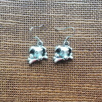 Silver Plated Dog with Bone Earrings, Dog Lovers, Dogs, Gifts for Dog Lovers