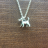 "Standing Dog Necklace, 18"" Fine Trace Silver Plated, Gifts for Dog Lovers"