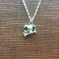 "Dog with Bone Necklace, 18"" Fine Trace Silver Plated, Gifts for Dog Lovers"