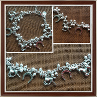 Horse Lovers, Horse Charm Bracelet, Silver Tone, Gifts for Horse Lovers