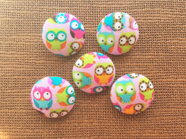 Gorgeous Pink Owl Buttons, Mix Colour, Yellow, Green, Bird, 28mm