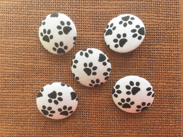 Paw Print Buttons, Fabric Buttons, Paws, Black, White, 28mm