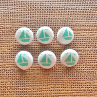 6 x 14mm Fabric Nautical Buttons. Turquoise, Boat, Ocean, Seaside.