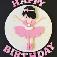 "1 x edible icing Ballerina Happy Birthday 7"" cake topper cake decoration"