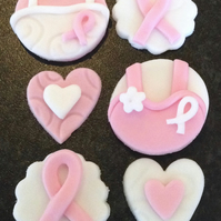 12 x edible icing 'Breast Cancer Awareness cupcake toppers cake decorations