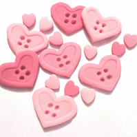 50 x edible icing Heart Buttons & mini heart cupcake toppers cake decorations