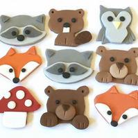 9 x edible icing Woodland Animal themed cupcake toppers cake decorations