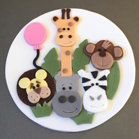 "1 x edible icing Jungle Animal theme round 7"" Birthday cake topper decoration"