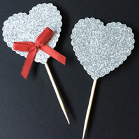 8 x Silver Glitter card Heart Cupcake Picks Toppers with bow detail weddings