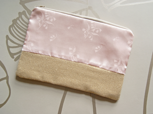 SALE - Floral Blush and Gold Pouch