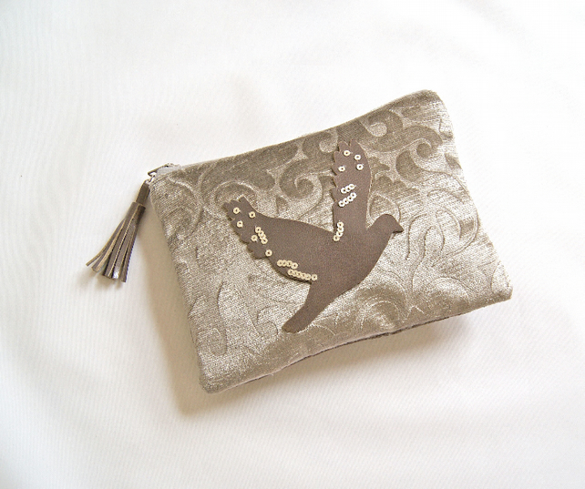 SALE - Velvet and Leather Small Bird Pouch, make up bag, pouch