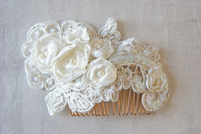 Embellished Ivory Hair comb