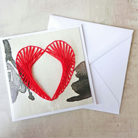 "SALE Red ""Love Heart"" Hand Stitched Card"