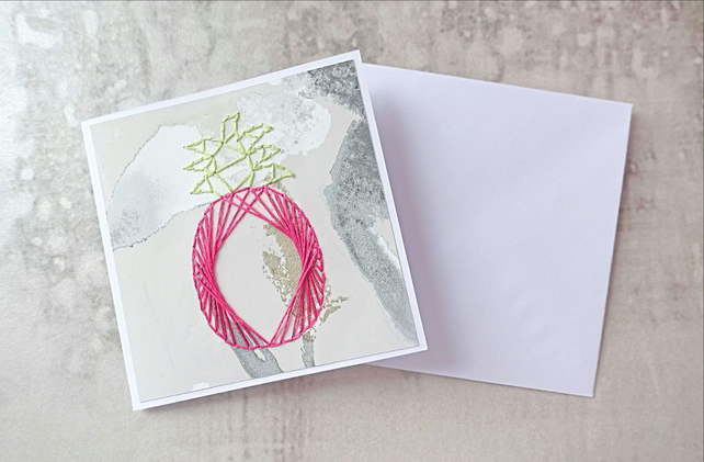 Pink Pineapple Hand Stitched Card